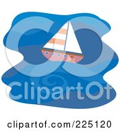 Royalty Free RF Clipart Illustration Of A Lone Sailboat On Blue Waters