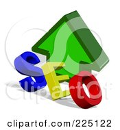 Royalty-Free (RF) Clipart Illustration of a 3d Red, Green And Blue SEO In Front Of A Green Up Arrow by MacX
