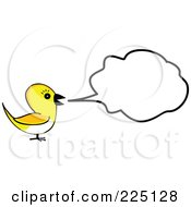 Royalty Free RF Clipart Illustration Of A Talkative Yellow Bird With A Speech Balloon by tdoes