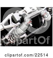 Clipart Illustration Of A Closeup Of Red And Chrome Suspension Car Parts And Springs Over Black by KJ Pargeter