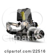 Clipart Illustration Of A Car Engine With Black Silver And Yellow Parts by KJ Pargeter