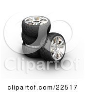 Clipart Illustration Of A Stack Of Rubber Car Tires One Leaning Against The Stack Over White by KJ Pargeter