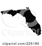 Royalty Free RF Clipart Illustration Of A Black Silhouette Of Florida USA by JR