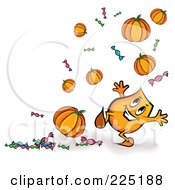 Royalty Free RF Clipart Illustration Of A Blinky Cartoon Character With Floating Halloween Pumpkins And Candy by MilsiArt