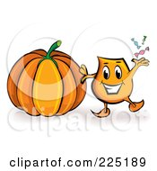 Royalty Free RF Clipart Illustration Of A Blinky Cartoon Character A Halloween Pumpkin by MilsiArt