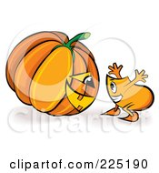 Royalty Free RF Clipart Illustration Of A Blinky Cartoon Character Looking At A Halloween Jackolantern by MilsiArt