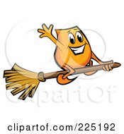 Royalty Free RF Clipart Illustration Of A Blinky Cartoon Character Flying On A Broomstick by MilsiArt