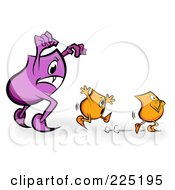 Royalty Free RF Clipart Illustration Of A Purple Blinky Monster Chasing Tiny Orange Blinkies by MilsiArt