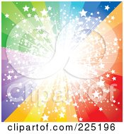 Royalty Free RF Clipart Illustration Of A Spectrum Burst With Bright Light And Stars