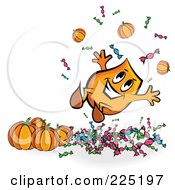 Royalty Free RF Clipart Illustration Of A Happy Halloween Blinky With Halloween Pumpkins And Candy by MilsiArt