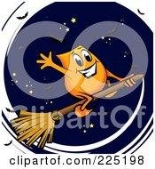 Royalty Free RF Clipart Illustration Of An Orange Blinky Waving And Flying On A Broomstick Against A Sky