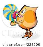 Royalty Free RF Clipart Illustration Of An Orange Blinky Cartoon Character Licking A Lolipop by MilsiArt