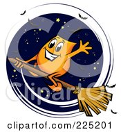 Royalty Free RF Clipart Illustration Of An Orange Blinky Flying On A Broomstick In The Night Sky by MilsiArt
