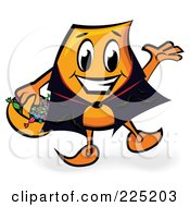 Royalty Free RF Clipart Illustration Of A Halloween Blinky Cartoon Character Wearing A Cape And Trick Or Treating