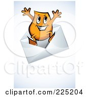 Royalty Free RF Clipart Illustration Of A Blinky Cartoon Character Jumping Out Of An Envelope