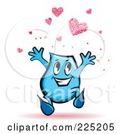 Royalty-Free (RF) Clipart Illustration of a Blue Blinky Cartoon Character With Hearts by MilsiArt