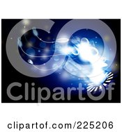 Royalty Free RF Clipart Illustration Of A Background Of Bright Light And Tentacles Emerging From A Circle And On Blue And Black