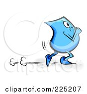 Royalty Free RF Clipart Illustration Of A Blue Blinky Cartoon Character Running by MilsiArt