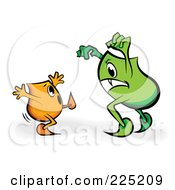Royalty Free RF Clipart Illustration Of A Reen Blinky Monster Scaring An Orange Blinky