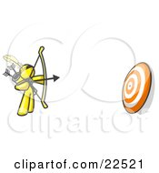 Clipart Illustration Of A Yellow Man Aiming A Bow And Arrow At A Target During Archery Practice