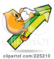 Royalty Free RF Clipart Illustration Of An Orange Blinky Cartoon Character Riding An Increase Arrow by MilsiArt