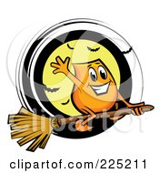 Royalty Free RF Clipart Illustration Of A Blinky Cartoon Character Flying On A Broomstick Over A Full Moon With Bats
