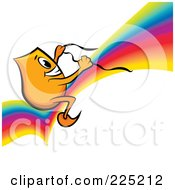 Royalty Free RF Clipart Illustration Of A Blinky Cartoon Character Riding On A Rainbow by MilsiArt