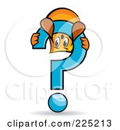 Royalty Free RF Clipart Illustration Of A Blinky Cartoon Character Playing On A Question Mark