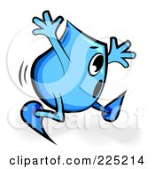 Royalty Free RF Clipart Illustration Of A Scared Blue Blinky Cartoon Character Running by MilsiArt