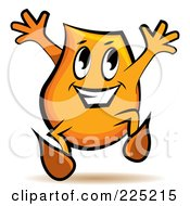 Royalty Free RF Clipart Illustration Of A Happy Orange Blinky Cartoon Character Jumping