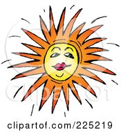 Royalty Free RF Clipart Illustration Of A Sun Face With Red Lips