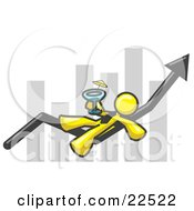 Clipart Illustration Of A Yellow Business Owner Man Relaxing On An Increase Bar And Drinking Finally Taking A Break by Leo Blanchette