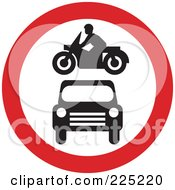 Royalty Free RF Clipart Illustration Of A Red And White Round Motorcycle And Car Sign by Prawny