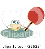 Royalty Free RF Clipart Illustration Of A Ping Pong Ball Holding A Paddle by Prawny