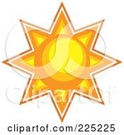 Royalty Free RF Clipart Illustration Of A Yellow And Orange Burst Sun
