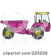 Royalty Free RF Clipart Illustration Of A Sketched Purple Tipper Dump Truck by Prawny