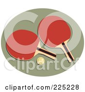 Royalty Free RF Clipart Illustration Of A Ping Pong Ball And Paddles Over A Green Oval