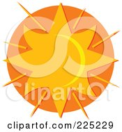 Royalty Free RF Clipart Illustration Of A Star Like Sun Over Orange