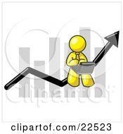 Clipart Illustration Of A Yellow Man Using A Laptop Computer Riding The Increasing Arrow Line On A Business Chart Graph by Leo Blanchette