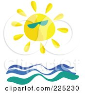 Royalty Free RF Clipart Illustration Of A Sun Wearing Shades Over Ocean Waves by Prawny