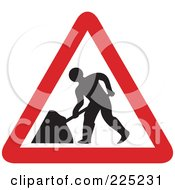 Red And White Road Work Triangle Sign