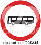Royalty Free RF Clipart Illustration Of A Red And White Round Bus Sign