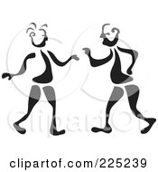 Royalty Free RF Clipart Illustration Of A Black And White Thick Line Drawing Of Men Talking