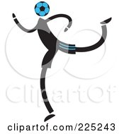 Royalty Free RF Clipart Illustration Of A Soccer Head Person Running by Prawny