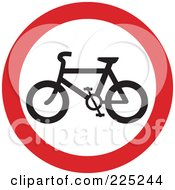 Royalty Free RF Clipart Illustration Of A Red And White Round Bicycle Sign by Prawny