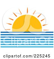 Royalty Free RF Clipart Illustration Of A Setting Sun Over The Oceans Horizon