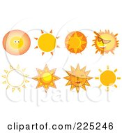 Royalty Free RF Clipart Illustration Of A Digital Collage Of Eight Sun Designs