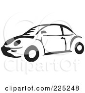 Royalty Free RF Clipart Illustration Of A Black And White VW Bug Car