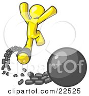 Clipart Illustration Of A Yellow Man Jumping For Joy While Breaking Away From A Ball And Chain Symbolizing Freedom From Debt Or Divorce by Leo Blanchette