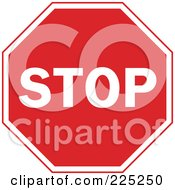 Royalty Free RF Clipart Illustration Of A Red And White Stop Sign